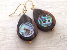 Load image into Gallery viewer, Abalone Teardrops, Double sided, Hawaiian Ebony Hardwood, One of a kind