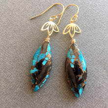 Load image into Gallery viewer, Abalone and Turquoise Lotus Dangle Earrings, OOAK