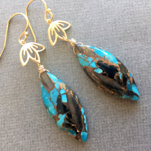 Abalone and Turquoise Lotus Dangle Earrings, OOAK
