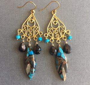 Abalone Turquoise and Sapphire Chandelier Earrings, OOAK