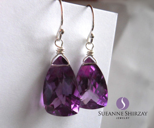 Alexandrite Quartz Color Change Pyramid Earrings