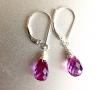 Load image into Gallery viewer, Alexandrite Colored Quartz teardrop Earrings, Silver, Gold or Rose Gold, Leverback Optional