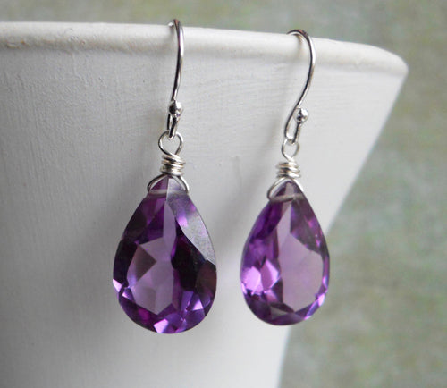 Alexandrite Quartz Color Change Pear Earrings