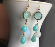 Load image into Gallery viewer, Amazonite and Moonstone Cascade Earrings, OOAK, leverback optional