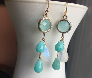 Amazonite and Moonstone Cascade Earrings, OOAK, leverback optional