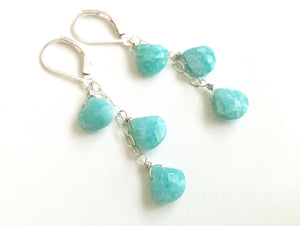 Surfside Amazonite and Sterling Cascade Necklace, Metal options