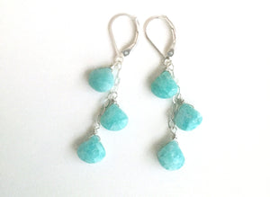 Surfside Amazonite and Sterling Cascade Earrings, Metal and earwire options