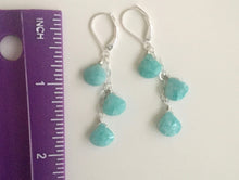 Load image into Gallery viewer, Surfside Amazonite and Sterling Cascade Earrings, Metal and earwire options
