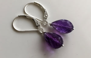 Drops of Amethyst Teardrop Earrings, metal and earwire choices