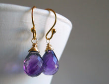 Load image into Gallery viewer, Drops of Amethyst Teardrop Earrings