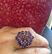 Load image into Gallery viewer, Amethyst and Rhodolite Garnet Cluster Ring, Sterling and White Gold Size 9