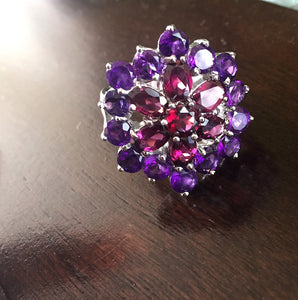 Amethyst and Rhodolite Garnet Cluster Ring, Sterling and White Gold Size 9