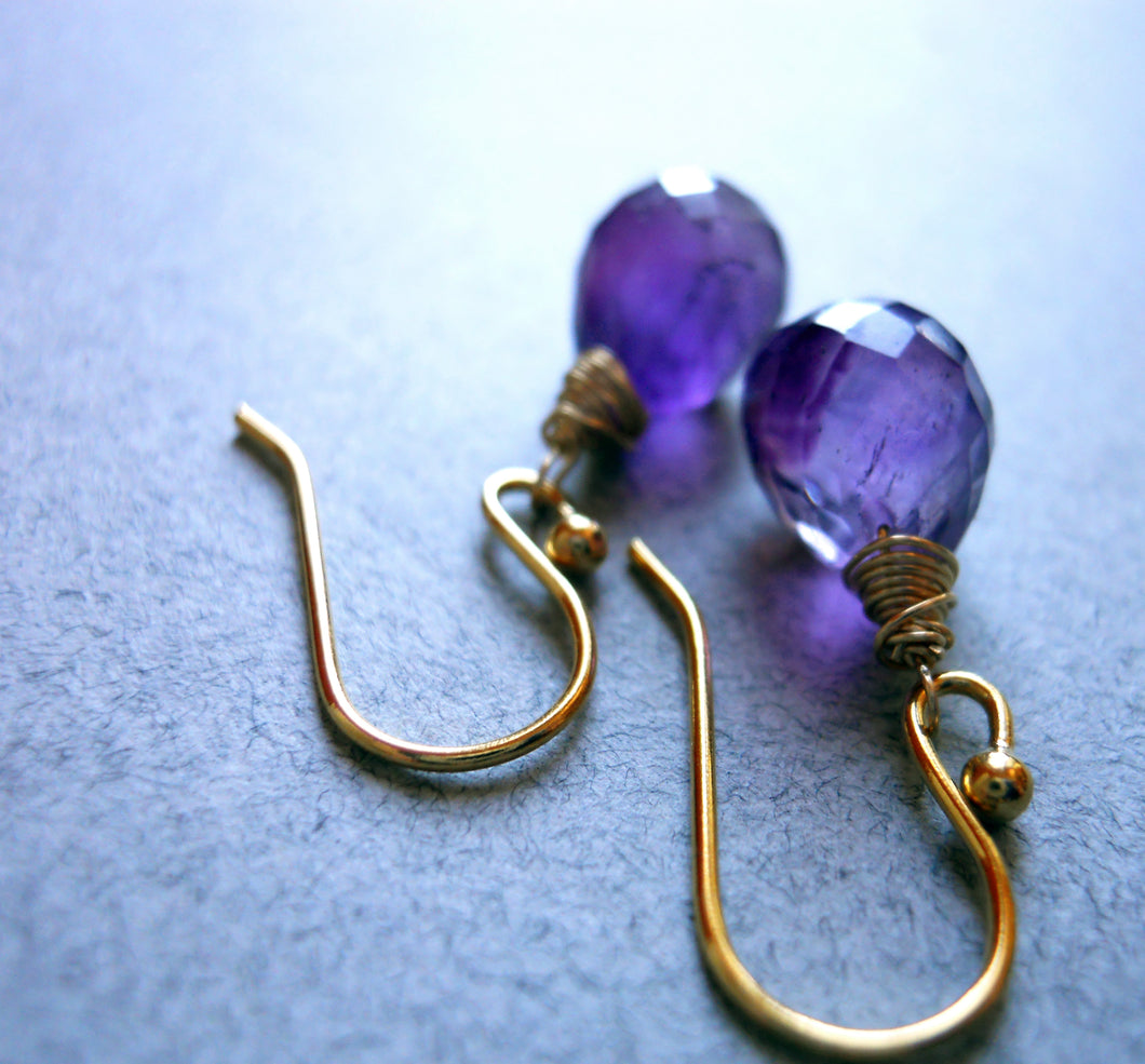 Drops of Amethyst Teardrop Earrings