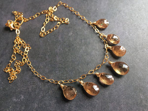 Exotic Andalusite Necklace, gold, RARE OOAK