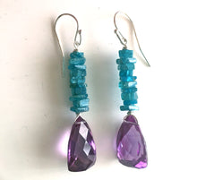 Load image into Gallery viewer, Annamaria Alexandrite and Neon Apatite Dangles