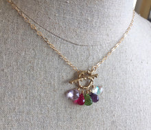 Load image into Gallery viewer, Anniversary Toggle Necklace, Amethyst, Quartz, Fire Moonstone
