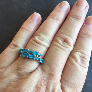 Oh so BLUE Paraiba Apatite Double Band Ring size 7.5