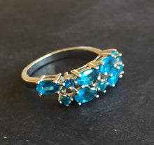 Load image into Gallery viewer, Oh so BLUE Paraiba Apatite Double Band Ring size 7.5