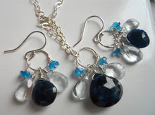 Load image into Gallery viewer, Blue Apatite and Aquamarine Loop Dangle Necklace
