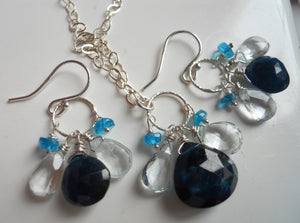 Blue Apatite and Aquamarine Loop Dangle Necklace