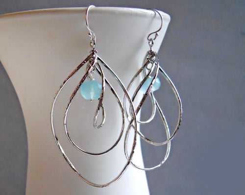 Pirouette Hoop Earrings, Aqua Blue Chalcedony, Silver