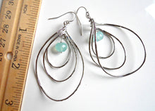 Load image into Gallery viewer, Pirouette Hoop Earrings, Aqua Blue Chalcedony, Silver