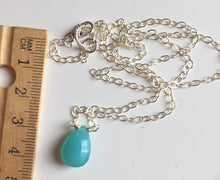 Load image into Gallery viewer, Aqua Chalcedony single stone necklace