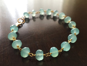 Poolside Aqua Chalcedony Bracelet, Gold or Silver