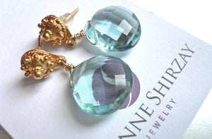 Poolside Aquamarine Quartz Earrings- Post