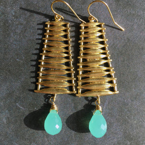 Ladder Chandeliers with Aqua Chalcedony Teardrops, OOAK