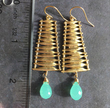 Load image into Gallery viewer, Ladder Chandeliers with Aqua Chalcedony Teardrops, OOAK