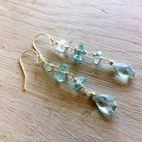 Aquamarine Nugget Dangle Earrings, metal choices
