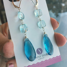 Load image into Gallery viewer, BlueTIFUL Aquamarine Blue Cushion Earrings