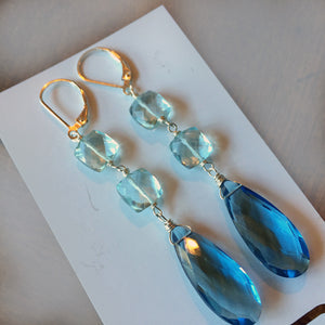 BlueTIFUL Aquamarine Blue Cushion Earrings