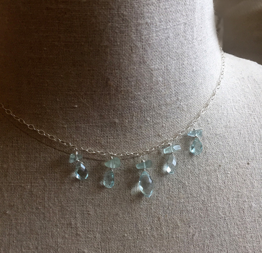 Aquamarine briolette and nugget necklace, limited quantity
