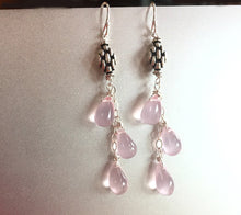 Load image into Gallery viewer, Rose Chalcedony Art Deco Dangles