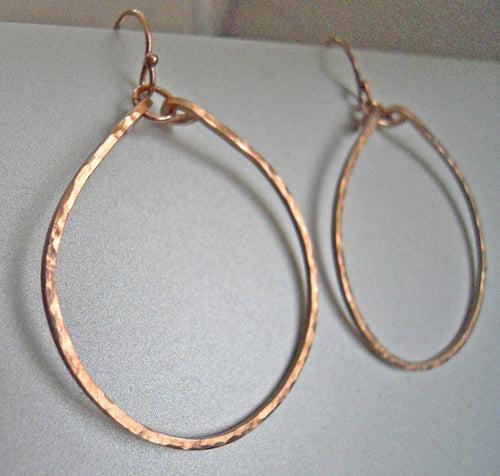 Ava Hammered Hoop Earrings in 14K Rose Gold Filled, Sterling, or 14k gold filled Size: Small