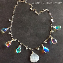 Load image into Gallery viewer, BadaBLING Selenite and Fire Rainbow Moonstone Necklace