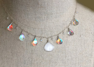 BadaBLING Selenite and Fire Rainbow Moonstone Necklace