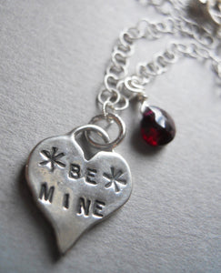 Be Mine artisan heart necklace with Garnet