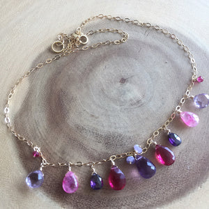 Basket of Berries Necklace, gold, silver or rose gold metal options