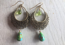 Load image into Gallery viewer, Bistro Hoops - available on backorder, allow 2 weeks, Golden Turquoise and Peridot