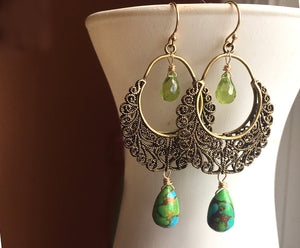 Bistro Hoops - available on backorder, allow 2 weeks, Golden Turquoise and Peridot
