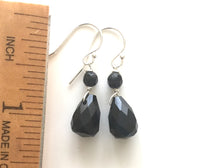 Load image into Gallery viewer, Black Teardrop Onyx  Ear Bob Earrings