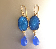 Load image into Gallery viewer, Sparkly Blue Druzy and Chalcedony Earrings