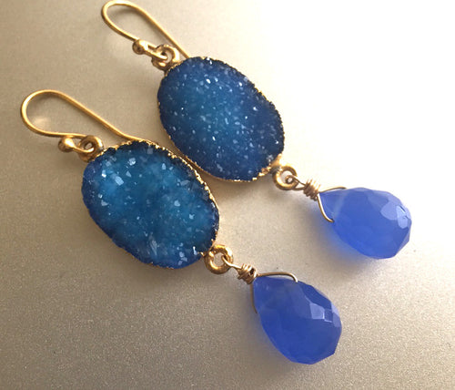 Sparkly Blue Druzy and Chalcedony Earrings