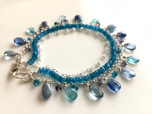 Blue Is Your Color Bracelet, Triple Strand Bracelet