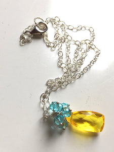 Blueberry Lemonade Pyramid Cluster Necklace
