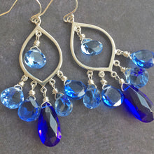 Load image into Gallery viewer, Cobalt Cavalcade Marquis Chandelier Earrings - allow an extra week please