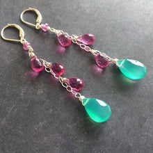 Load image into Gallery viewer, Boho Preppy Green Onyx Dangle Earrings